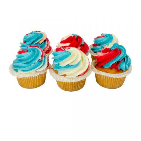 Rood/Wit/Blauw Cupcakes Bezorgen